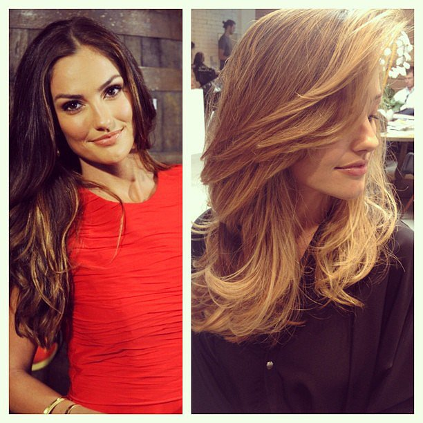 Minka Kelly's colorist Tracey Cunningham shared this before-and-after picture of her new style.  Source: Instagram user traceycunningham1