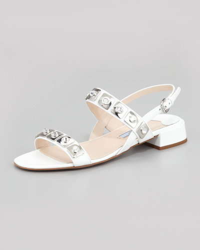 Prada Jeweled Double-Strapped Sandal, White
