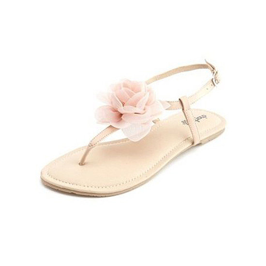 We love the sweet floral detailing on these Charlotte Russe Chiffon Blossom T-Strap Sandals ($18) — not to mention the price.