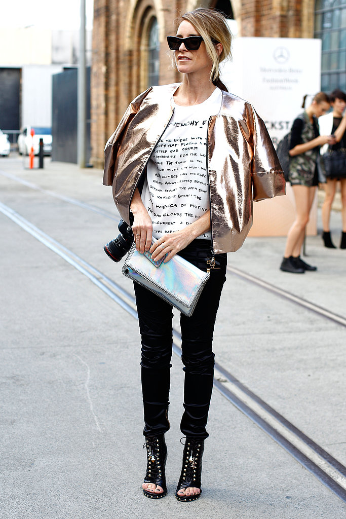 Why not layer up with one of Spring's biggest trends? This metallic jacket added warmth in the coolest way possible.