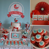 A Red and Aqua Baby Carriage Shower