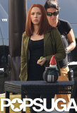 Scarlett Johansson shows off her red hair on her Captain America: The Winter Soldier set.