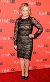 Amy Poehler wore a long-sleeved lace LBD, peep-toe black satin Stuart Weitzman pumps, and a very apropos Time 100 pin to the gala last night.
