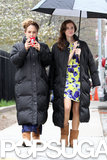 Jemima Kirke and Allison Williams, in a floral-printed Milly dress, walked together to their set yesterday.