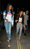Jourdan Dunn showed off her sporty style in a striped sweatshirt, ripped boyfriend jeans, and on-trend white pumps while out in London.