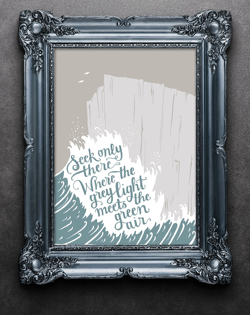 "This cool print features words from the poem ""Landscapes"" by T.S. Eliot ($40)."
