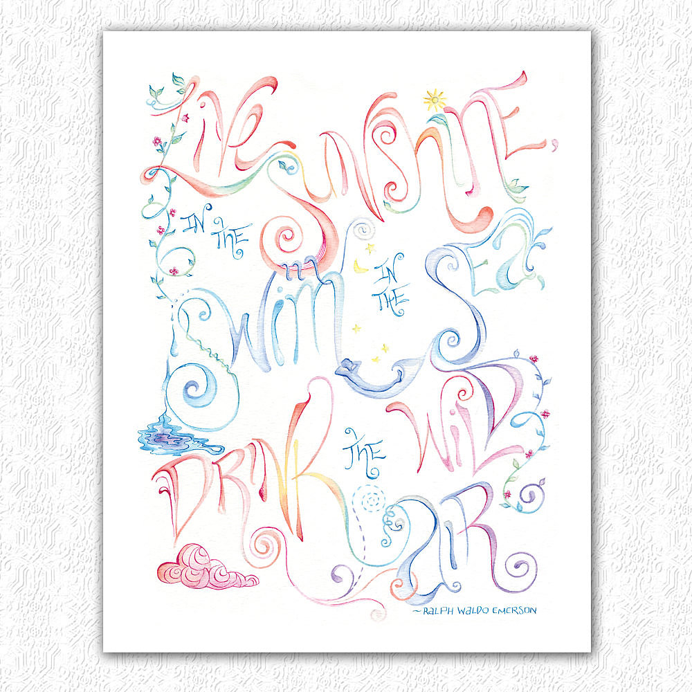 "This art print ($25) reads, ""Live in the sunshine, swim in the sea, drink the wild air"" by Ralph Waldo Emerson."