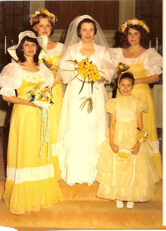 Yellow was this bride's color of choice in 1982.  Source: Flickr user Legal Sec