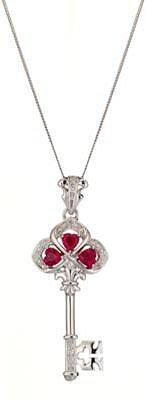 9ct White Gold Diamond And Ruby Key Pendant