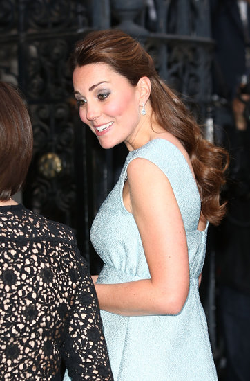The Duchess of Cambridge shows off the softly upswept sides of her style.