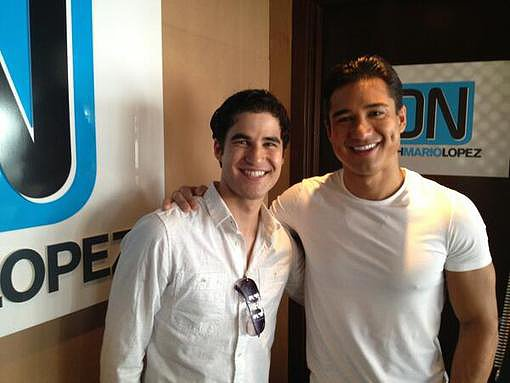 Glee's Darren Criss posed with Mario Lopez. Source: Twitter user MarioLopezExtra