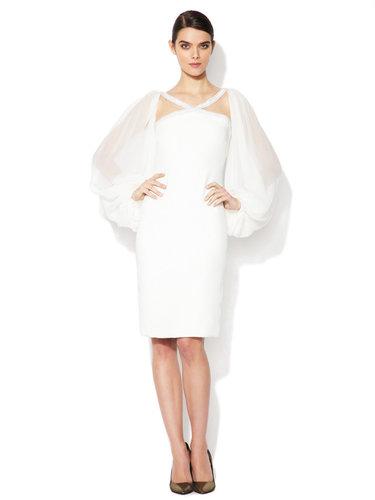 Crossover Embellished Silk Blouson Dress