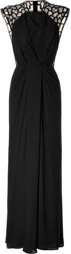 Elie Saab Black Silk Sequined Gown