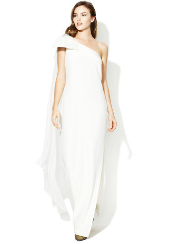 Silk One Shoulder Jeweled Bow Column Gown