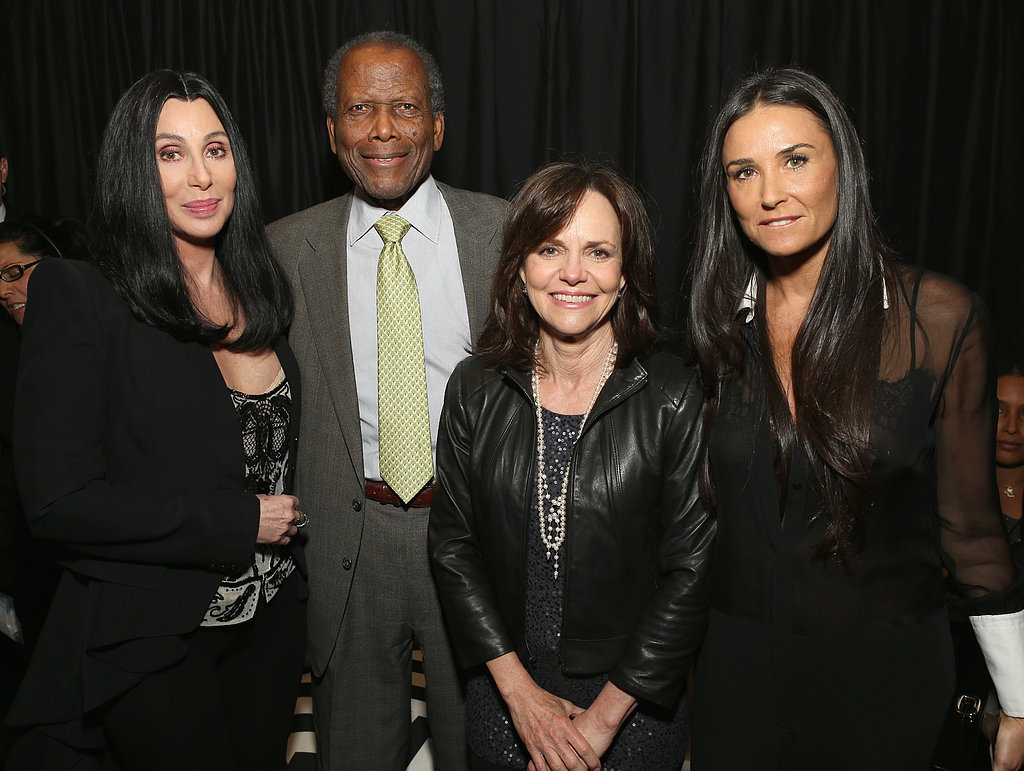 Cher, Sidney Poitier, Sally Field, and Demi Moore mingled in the green room.