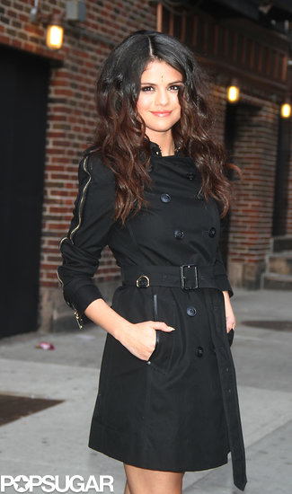 Selena Gomez smiled after her performance on the Late Show.