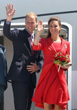 Kate Middleton and Prince William waved as they hopped on a plane out of Calgary in July 2011.