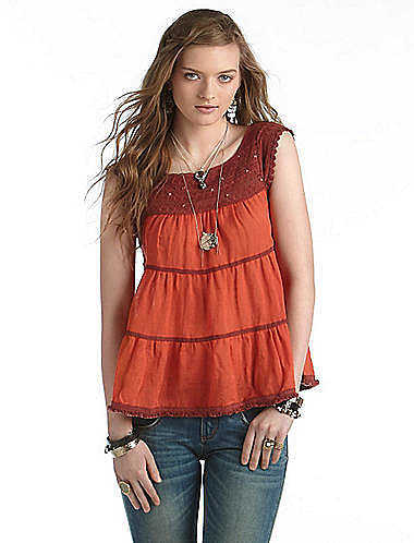 FREE PEOPLE Sleeveless Lace Peasant Top