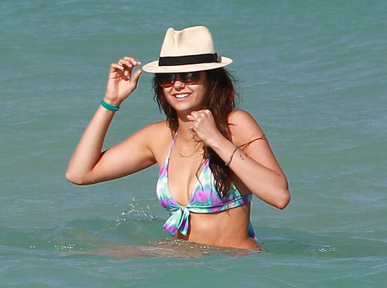 Nina Dobrev soaked up the sun in Miami.