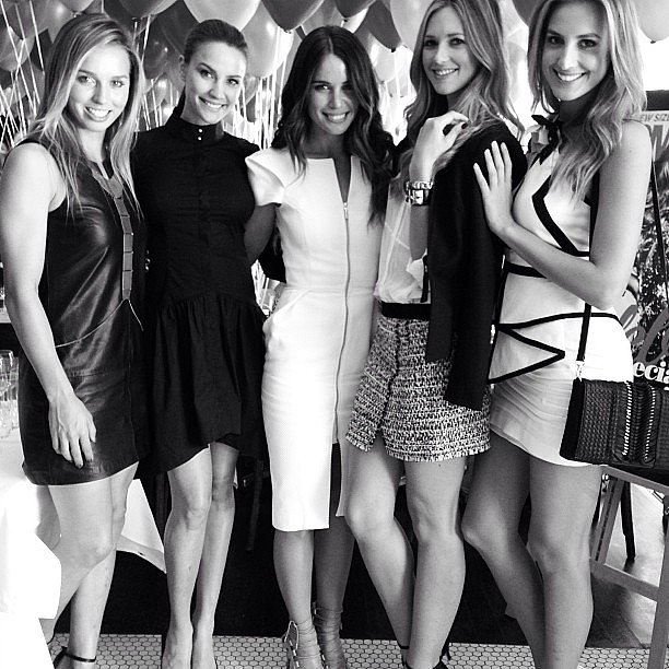 Sally Fitzgibbons, Rachael Finch, Jodi Gordon, Nikki Phillips and Laura Dundovic caught up at Cosmopolitan's 40th birthday lunch. Source: Instagram user nikkikphillips