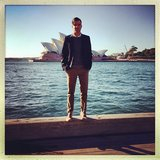 Zachary Quinto posed in front of the Opera House before getting started on Sydney press for Star Trek Into Darkness. Source: Instagram user zacharyquinto