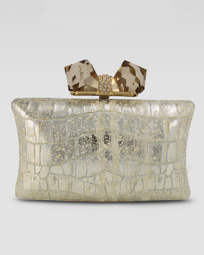 Overture Judith Leiber Vanessa Large Embossed Concave Clutch Bag, Gold