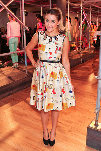 LC opted for a quirky printed Kate Spade fit-and-flare at the designer's Spring 2013 presentation during NYFW. Lesson from Lauren: don't be afraid to capitalize on your love of cheeky prints.