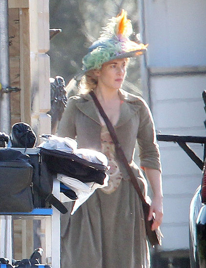 Kate Winslet got into character in Richmond, England, while filming a scene on Tuesday from her film A Little Chaos.