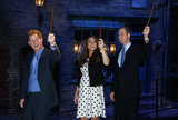 Pregnant Kate Middleton and Prince William got goofy with Prince Harry in London's Harry Potter film studio in April.