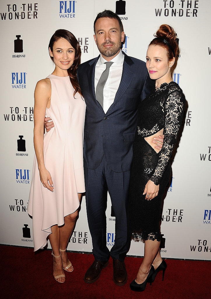 Ben Affleck caught up with Rachel McAdams and Olga Kurylenko on the red carpet at the LA premiere of their film To the Wonder.