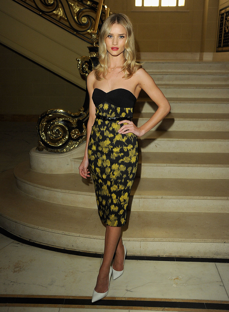 It's hard to top Rosie Huntington-Whiteley's printed Michael Kors strapless — the model was stunning at the designer's Vogue-hosted dinner in London.
