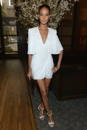 Joan Smalls was a vision in a draped white minidress at the Condé Nast Toast to Editors party in NYC.