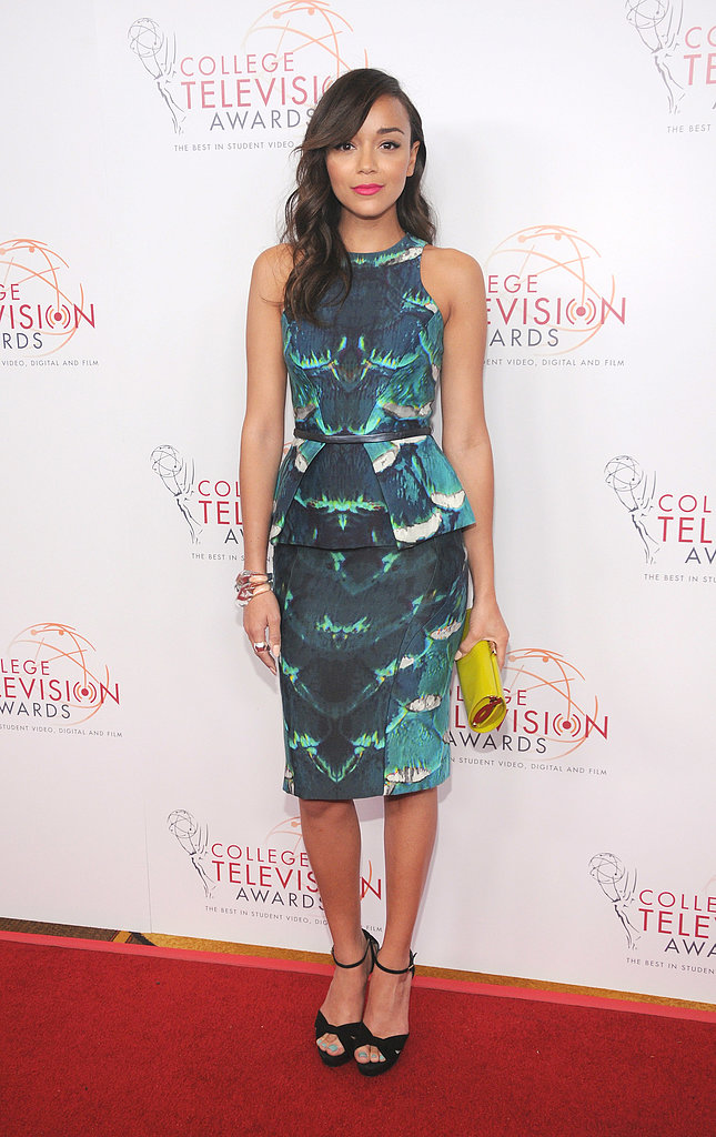 Ashley Madekwe chose a gorgeous, printed Monique Lhuillier sheath for the College Television Awards Gala.
