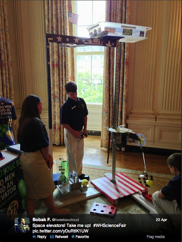Is the space elevator a distant dream? Perhaps not, thanks to these clever kids at the White House Science Fair! Curiosity flight director Bobak Ferdowsi is impressed.