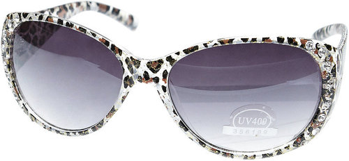 Dynasty Sunglasses Midsize Sunglasses With Animal Print and Rhinestones