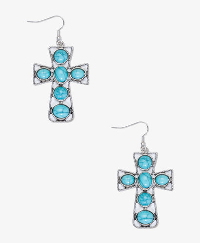 FOREVER 21 Faux Turquoise Cross Drop Earrings
