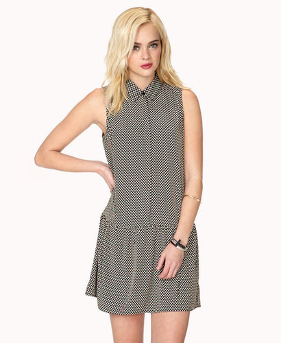 FOREVER 21 Drop Waist Geo Print Dress
