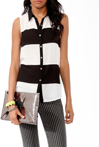 FOREVER 21 Sleeveless Colorblock Shirt