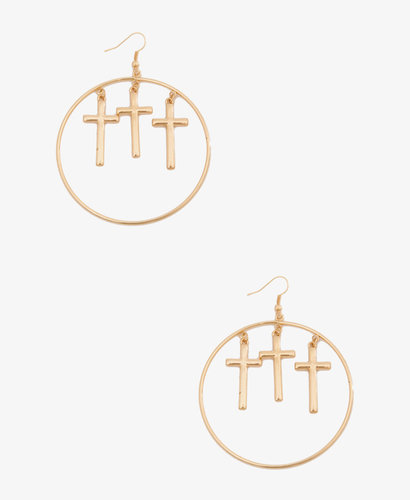 FOREVER 21 Cross Charms Hoops