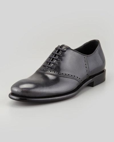 Salvatore Ferragamo Serafino Shiny Leather Lace-Up Oxford, Gray/Black