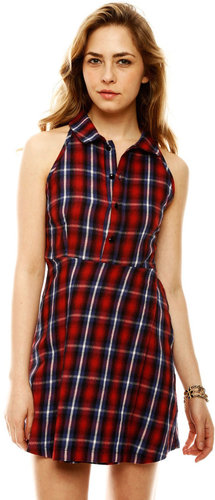 Shown To Scale Plaid Button Up Dress