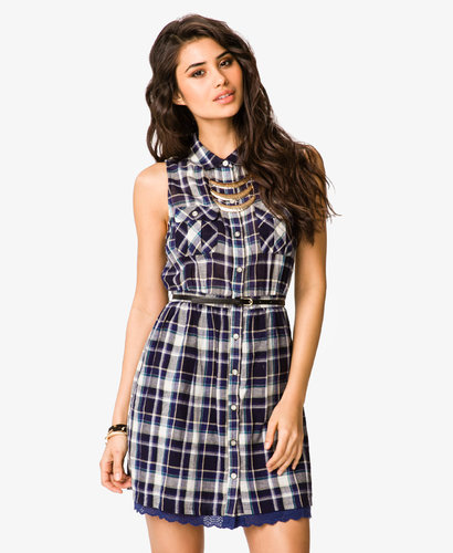 FOREVER 21 Fit & Flare Plaid Dress