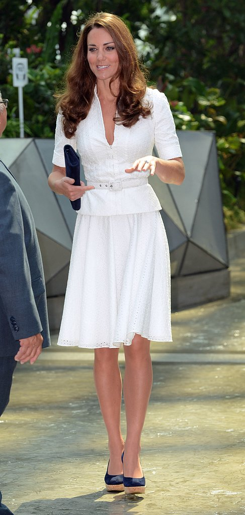 For her second take on white Alexander McQueen, she ditched the ornate fascinator and, instead, paired the look with her go-to navy wedges.
