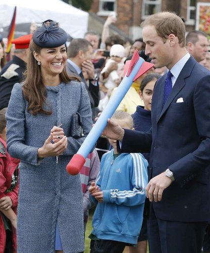 The couple showed off their sillier side for a children's sports event in early June 2012, and for the occasion, Kate donned a blue tweed Missoni coat.