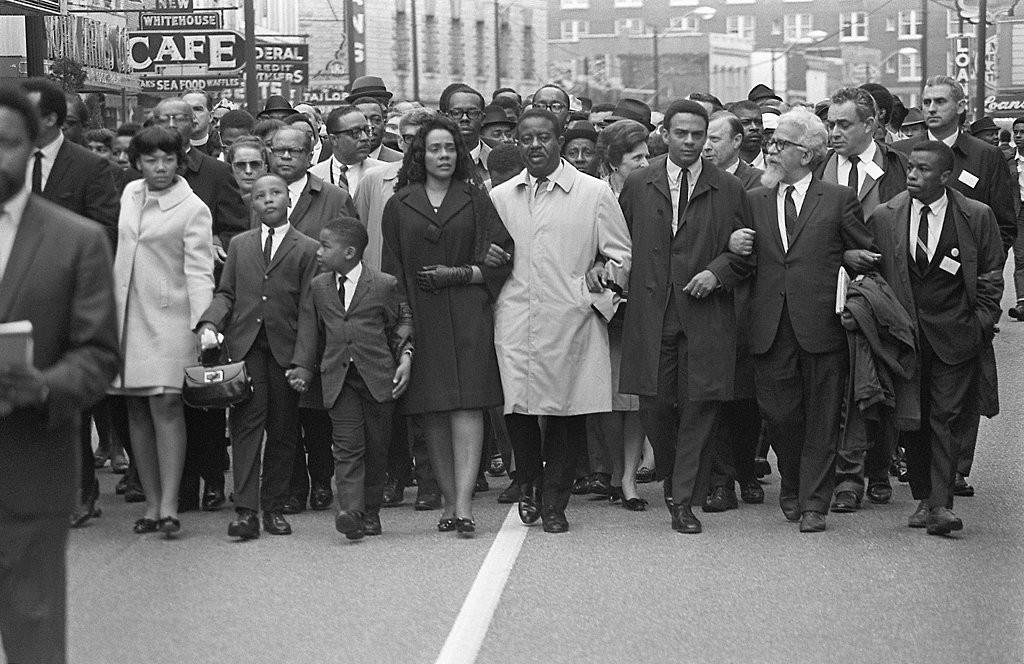 Five days after his assassination, Coretta Scott King, MLK Jr.'s wife, led the March on Memphis alongside her daughter and grandsons.