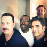 Jon Hamm photo-bombed Tom Hanks, Courtney Vance, and John Stamos backstage at Hanks's play Lucky Guy. Source: Instagram user johnstamos