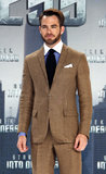 Chris Pine posed solo on the red carpet at the German premiere of Star Trek Into Darkness.