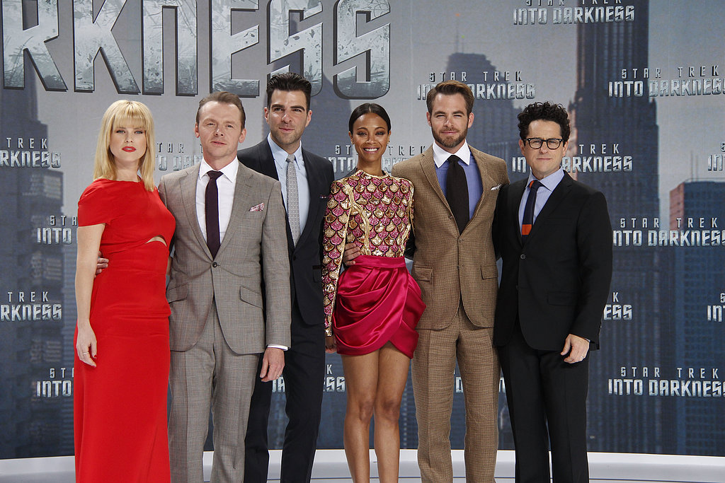 Alice Eve, Simon Pegg, Zachary Quinto, Zoe Saldana, Chris Pine and director J.J. Abrams attended the German premiere of Star Trek Into Darkness.