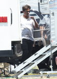 Johnny Depp headed to his trailer on the set of Transcendence in LA.