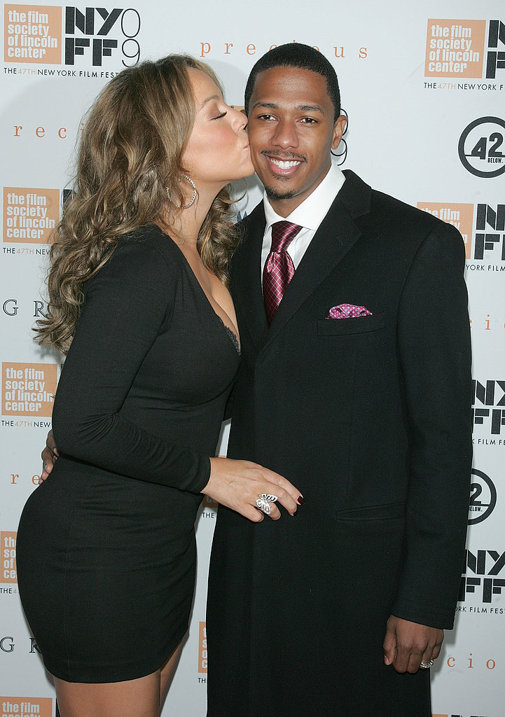 Mariah Carey planted a kiss on Nick Cannon in October 2009 at the New York Film Festival.